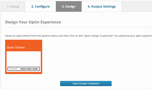 Select a theme for your footer bar optin