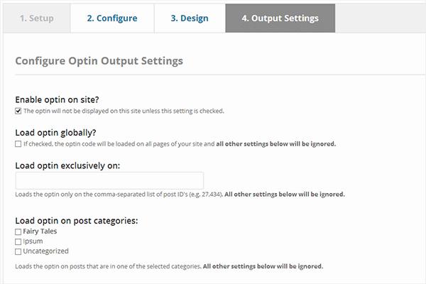Configure your optin output settings