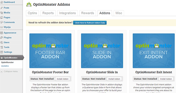 OptinMonster Addons screen