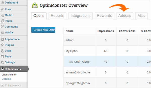 Addons Tab in OptinMonster Dashboard