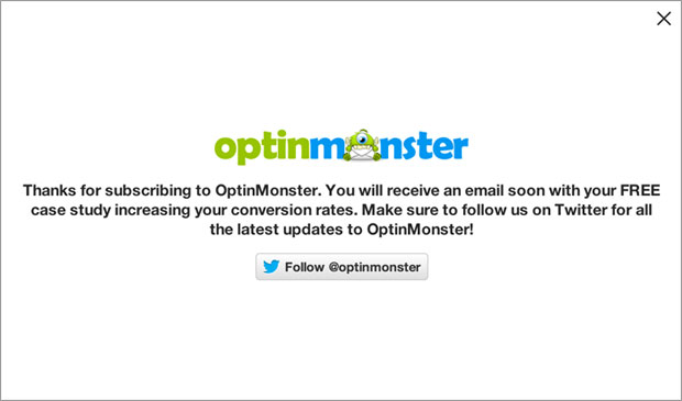 OptinMonster Success Message