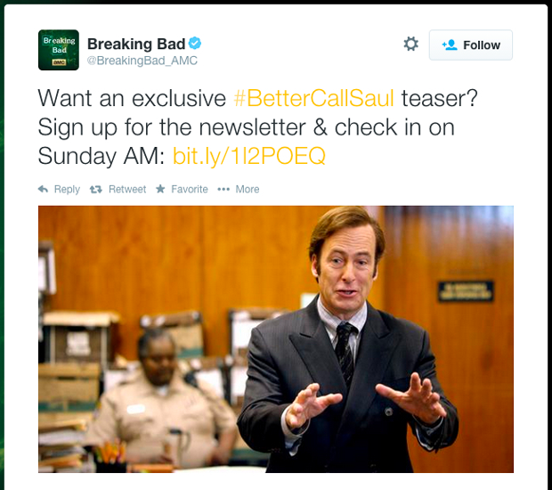Better Call Saul email subscription for exclusive content on Twitter