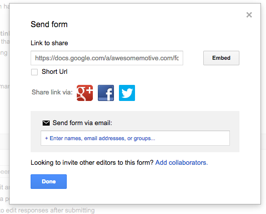 Google Forms: Embed Button