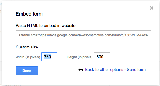 Google Forms: Embeddable Code