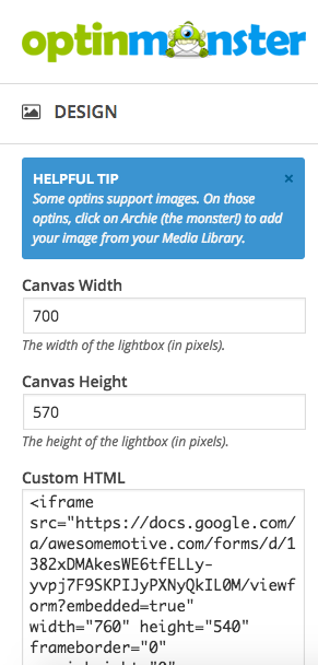 Canvas Optin: Custom HTML