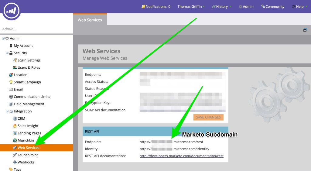 The subdomain for your custom service in Marketo is found in the Web Services section of the Admin.