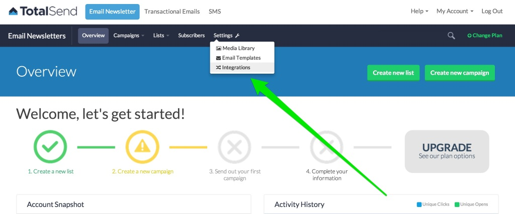 Navigate to your TotalSend Integrations page to retrieve your API Credentials.