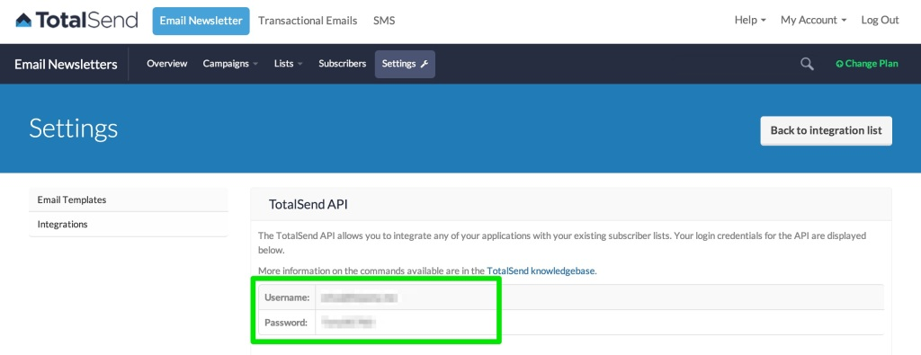 You will need to copy your API Username and API Password.