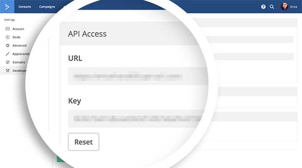 You can access your ActiveCampaign API Key from the Developer tab of the Settings page.
