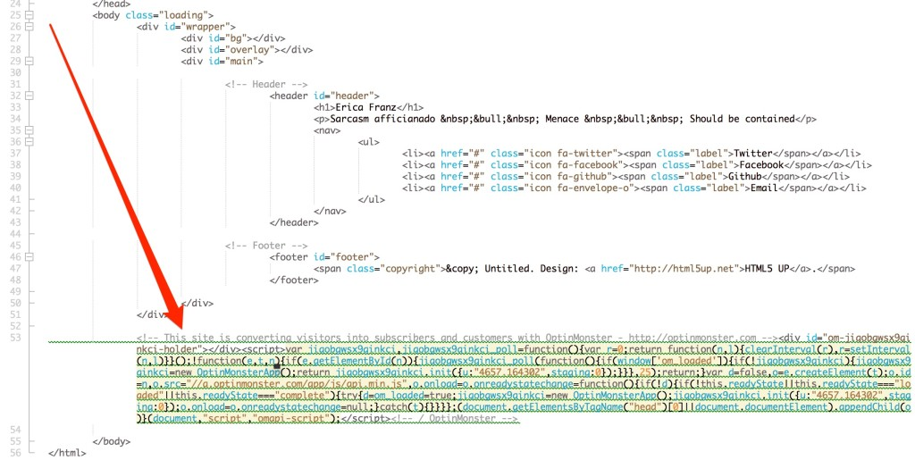 You can paste the embed code into your HTML file near the closing body tag.