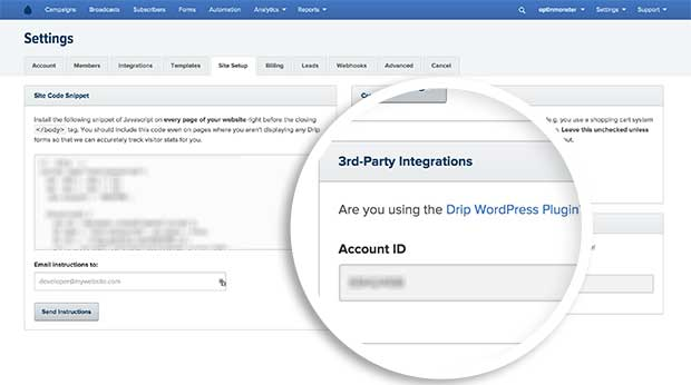 Be sure to copy your Drip Account ID from the Site Setup page, located inside the 3rd Party Integration section.