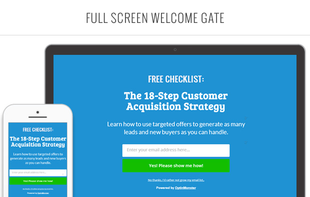 OptinMonster Full Screen Welcome Gate