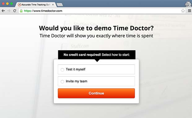TimeDoctor's landing page with nothing but a call to action