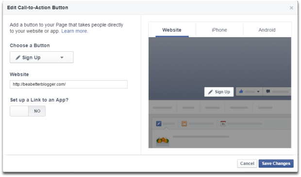 Enter your URL and select a button to utilize Facebook's CTA feature