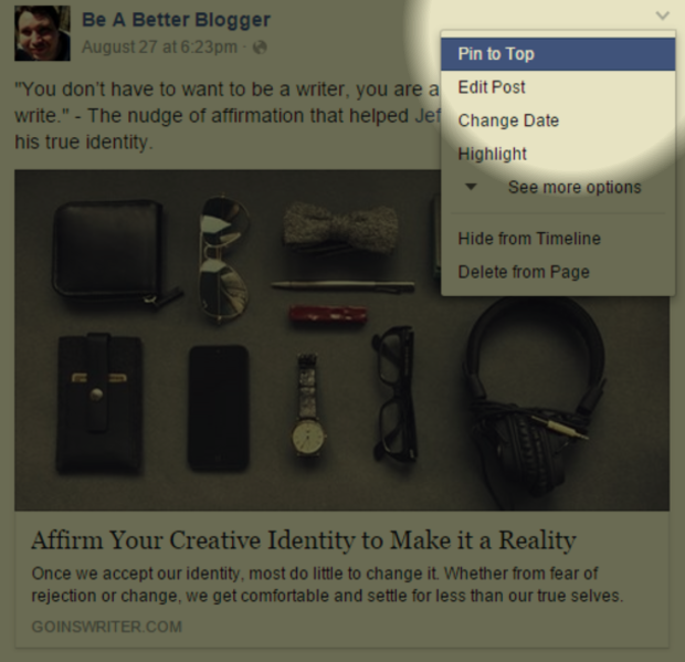 Pinning a Facebook post is an effective method for promoting optimized articles or landing pages