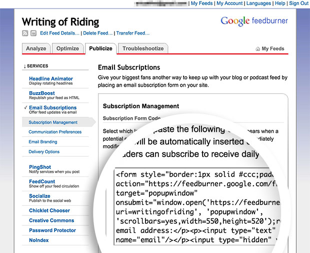 Feedburner will provide you with the HTML form code you can add to your campaign.