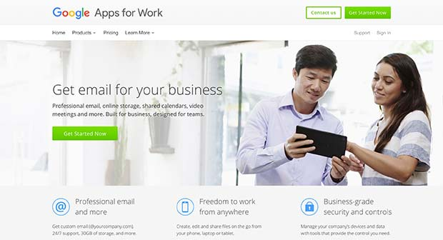 Google Apps for Work landing page featuring a high quality image next to a call of action