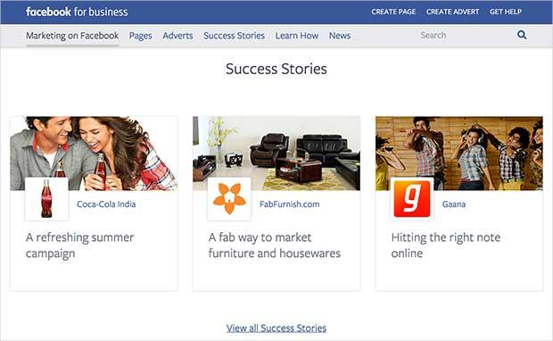 Facebook for business website showcasing success stories