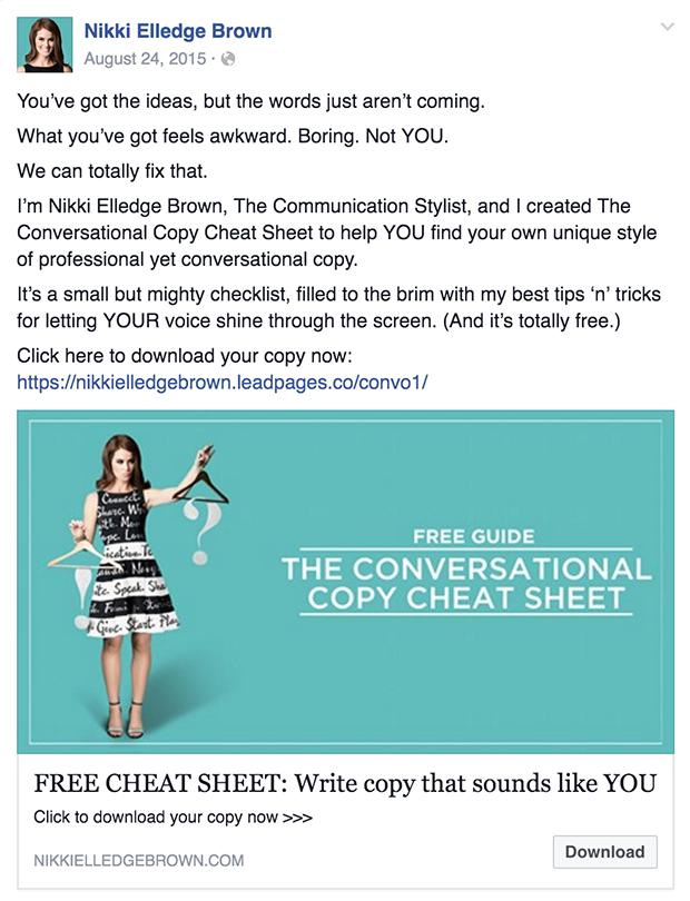 Facebook ad example - Nikki Elledge Brown Ad
