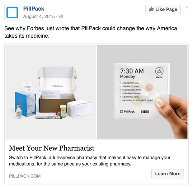 running facebook ads - PillPack Ad