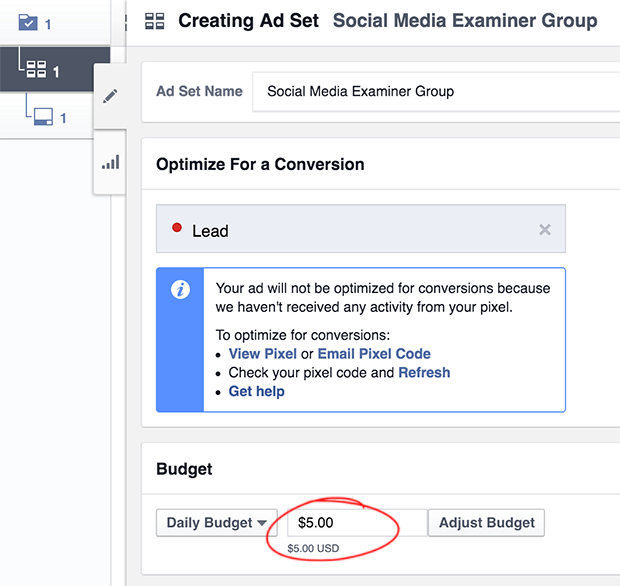 Set Facebook ad Budget