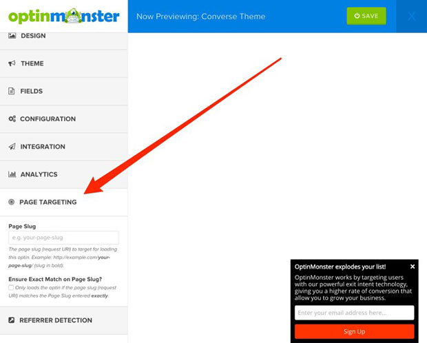 OptinMonster can target pages by URL, too
