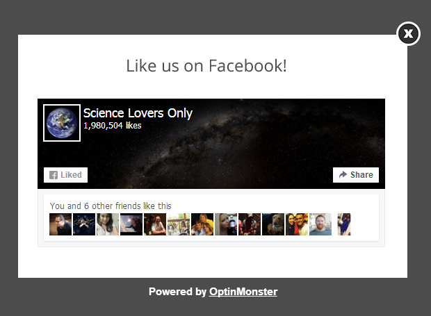 Increase conversions with a Facebook Like Popup