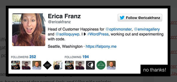 Create a customized twitter follow Campaign using OptinMonster's Canvas Technology.
