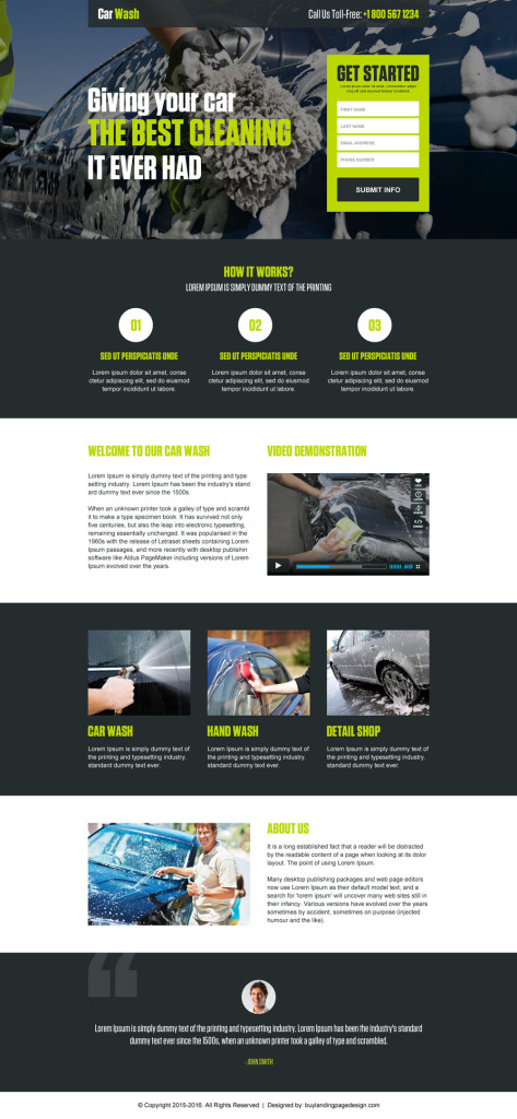 Example of an Automotive Car Wash Landing Page