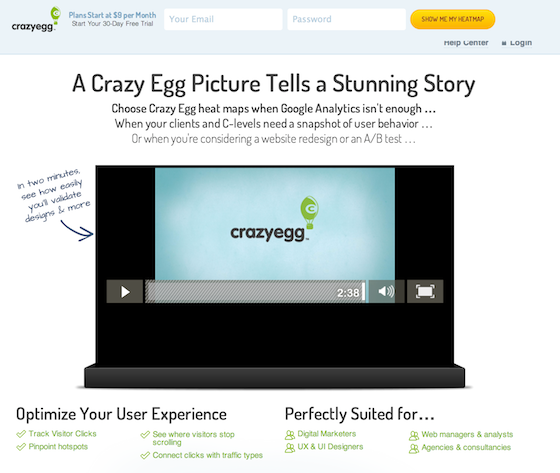 Crazy Egg Video Landing Page