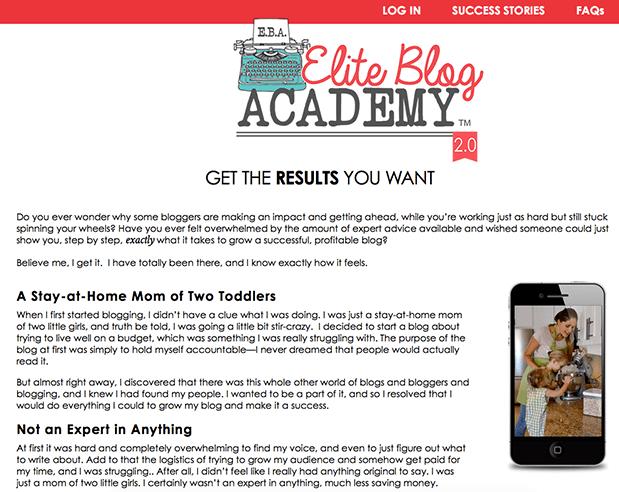 Blog Elite Academy Sales Page