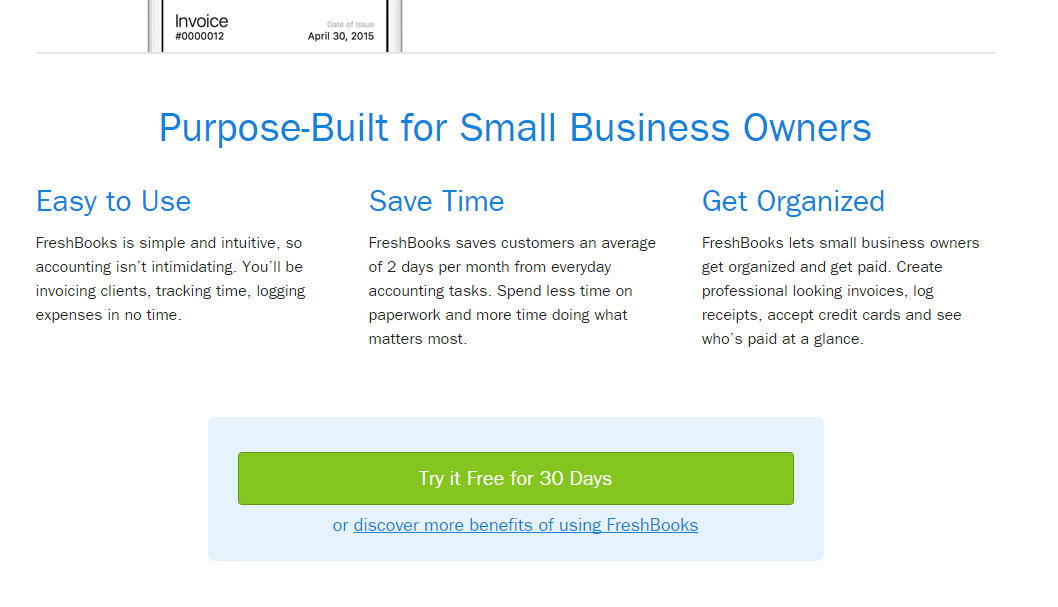 Freshbooks offers a free trial as a point of conversion.