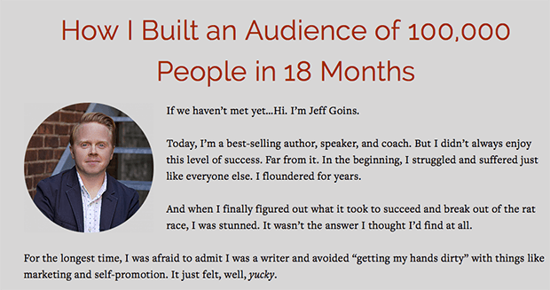 Jeff Goins Sales Page