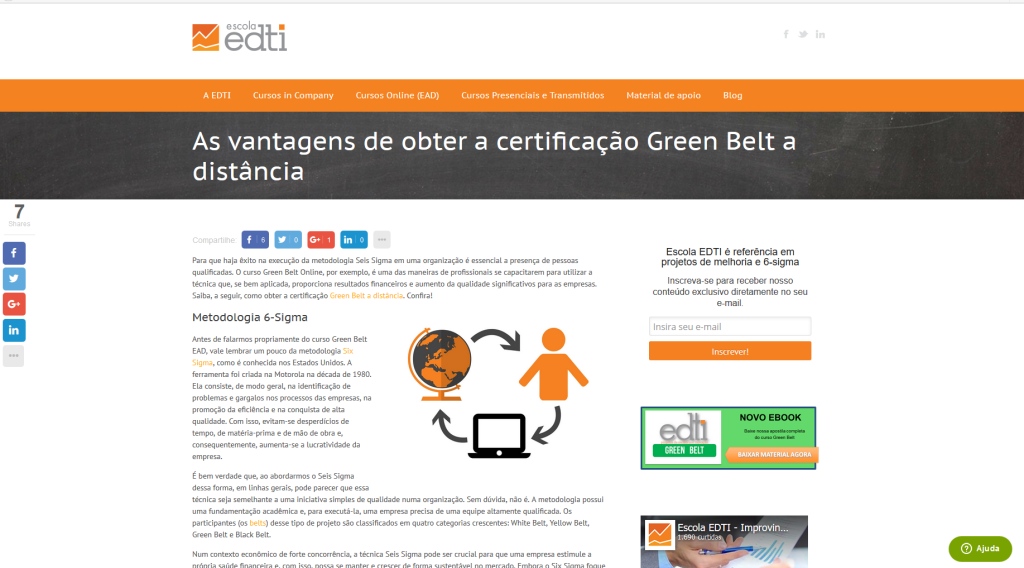 Escola EDTI used split testing to test colors in a sidebar optin