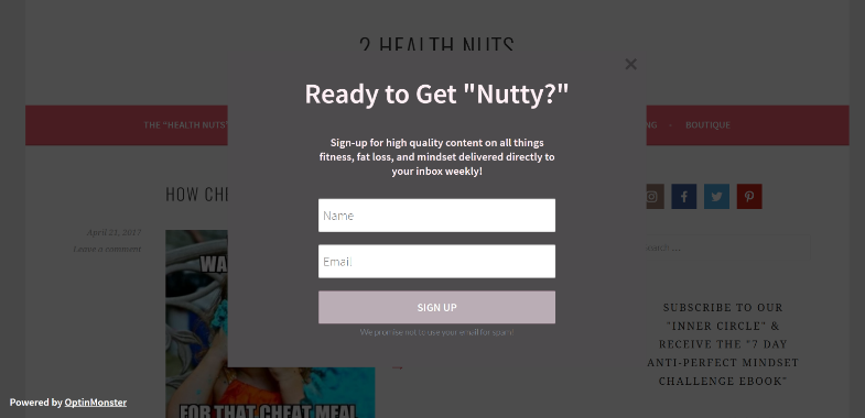 2 Health Nuts Exit Intent Popup