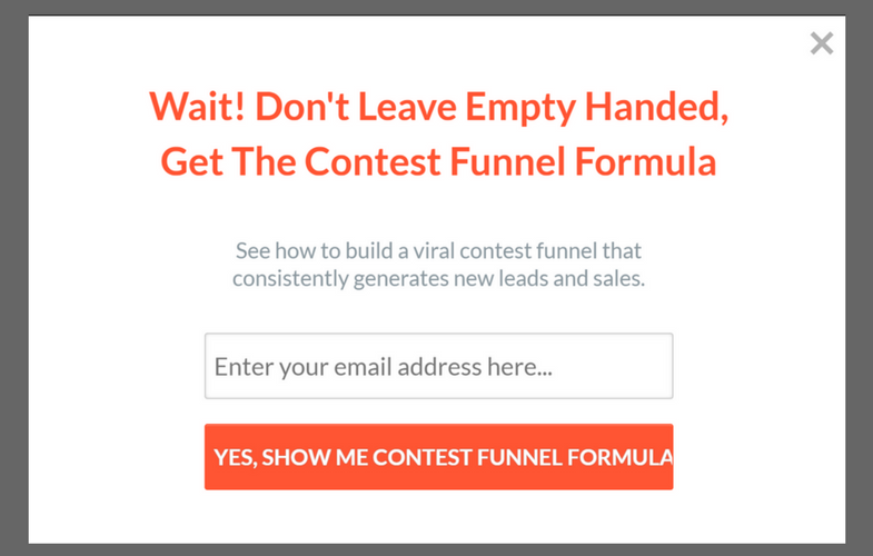 Contest Domination Popup