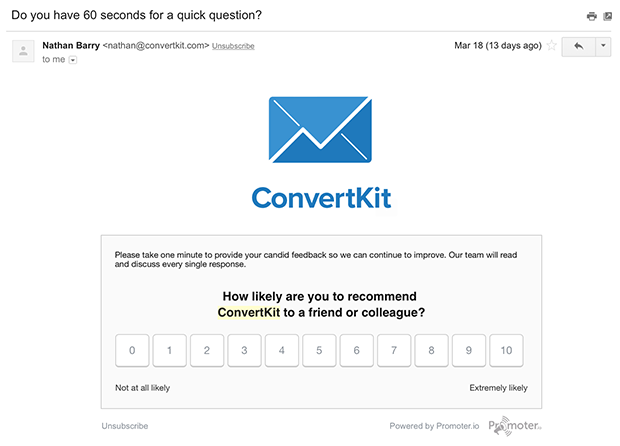 ConvertKit Feedback Email