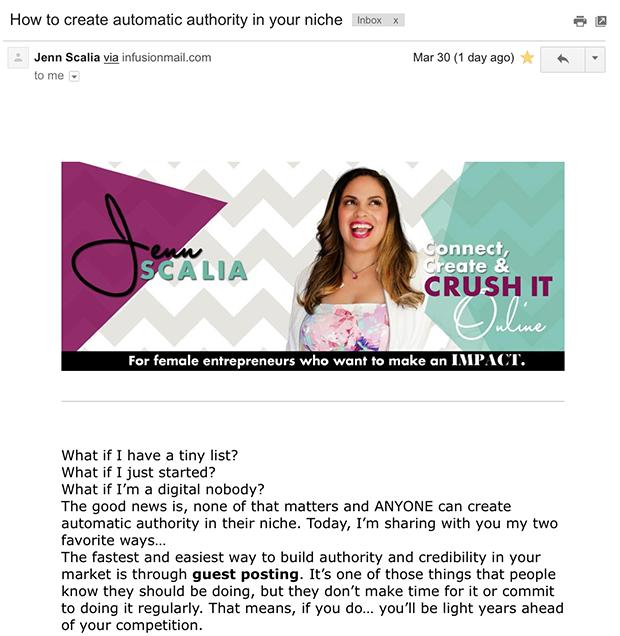 Jenn Scalia Benefit Email