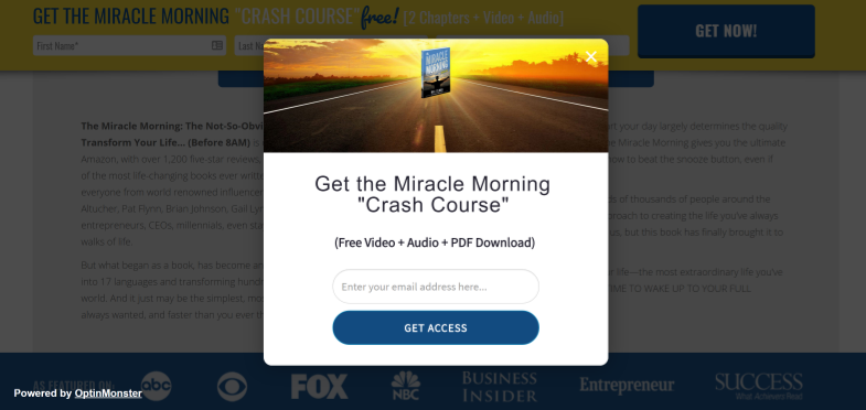 Miracle Morning Exit-Intent Popup