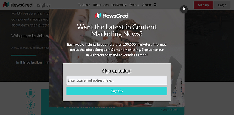 NewsCred Lightbox Popup
