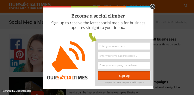 Our Social Times Exit Intent Popup