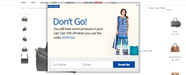 grow your email list with Shopping Cart Exit Popups