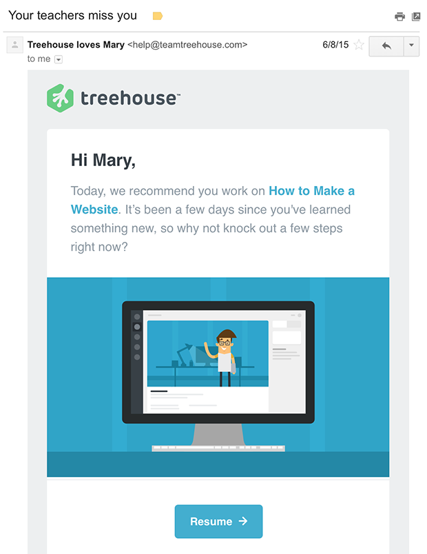 Treehouse Personalized Email