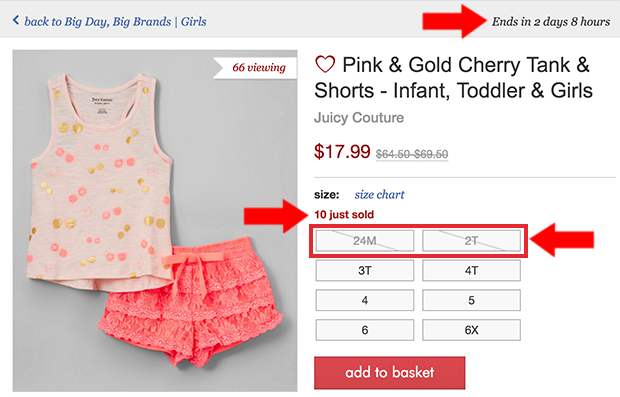 Zulily Scarcity helps with cart abandonment