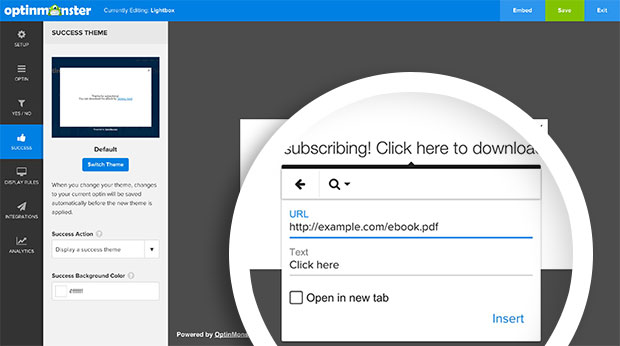 Configure the link for your Success Message text and select the Insert button to continue.