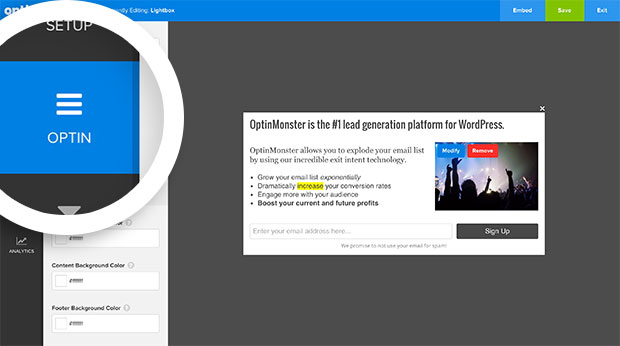 Select the Optin tab in the builder to configure your optin.