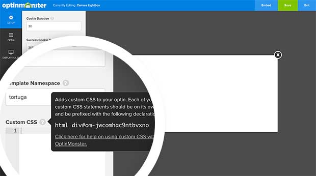 Each campaign uses a unique CSS selector you can prepend your CSS styles with.