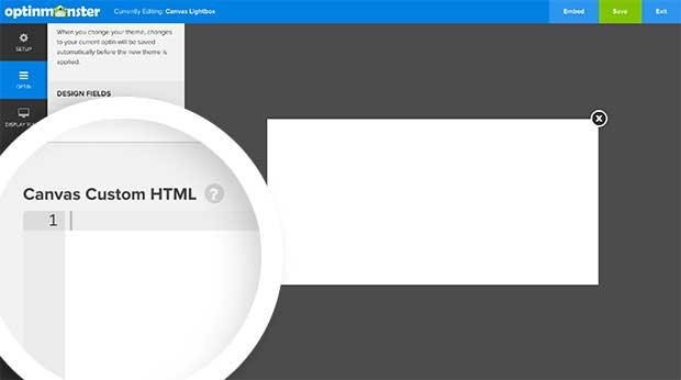 Custom HTML for Canvas