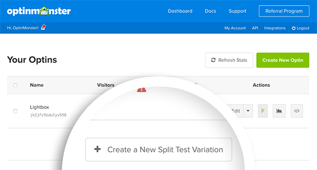 Select the Create a New Split Test Variation button to begin creating a split-test.