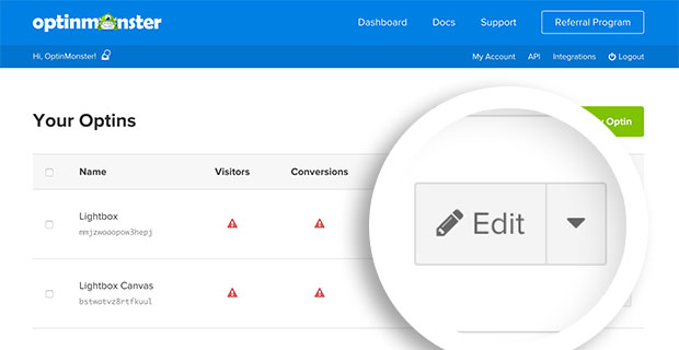 Select the edit button from your Dashboard to edit an optin you've already created.